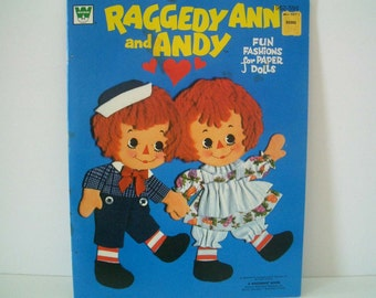 Vintage Raggedy Ann and Andy Paper Dolls UNCUT 1974