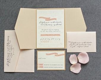Wedding Invitation Kits, Pocket Wedding Invitations, Simple Wedding Invitations, Blush Invitations, Country Wedding  Stephanie & Thomas