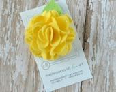 Lemon Yellow Felt Carnation Flower Hair Clip - bright yellow - LARGE scallop carnation style - felt hair clippie - felt flower hair bow