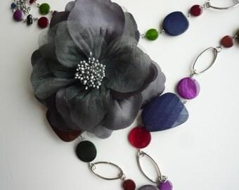SATIN  GARDENIA Flower,  Dark Grey, Charcoal   / FL - 13
