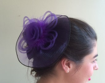 SINAMAY FASCINATOR , with Feathers,  Purple   /  F - 11