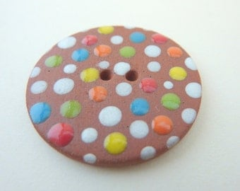 3 x Terracotta Buttons With Colourful Dots