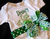 Baby's First St. Patrick's Day Bodysuit with Shamrock ribbon and Monogram