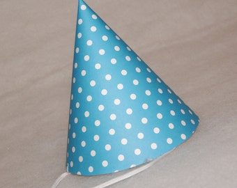 NEW Simple Birthday Party Hat - Turquoise Polka Dot
