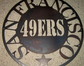 49ers in Circle-metal art, sports art, man cave, home art, wall decor, steel art, metal sign, football art