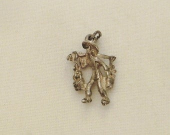 STERLING CHARM WORKER Water Carrier  Silver charming collectible 3/4x1/2 in Rockabilly