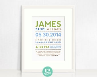 Modern Typography Announcement Birth Print with Bible Verse or Poem