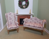 Dollhouse Miniature Handmade Couch and Chair