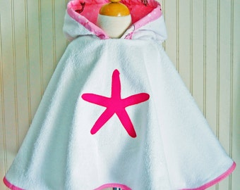 Girls Beach Coverup Swimsuit Cover Up Nautical Hooded Towel Terry Coverup Starfish Beach Apparel 12mos-2T, 3 / 4T, 5 / 6 by The Trendy Tot