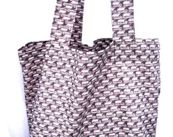 Grocery Market Carry All Tote Bag Waves in Rust