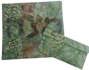 Passover Matzah and Afikomen Covers in  Green Batik