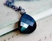 Dark Crystal Necklace, Crystal Pendant, Crystal Jewelry, Black Pendant, Swarovski Crystal, Sterling Silver, Noir, Dark, PoleStar Jewelry