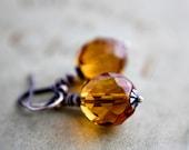 Drop Earrings, Glass Earrings, Topaz Earrings, November, Birthstone, Glass Earrings, Czech Glass, Amber Glass, Sterling Silver, PoleStar