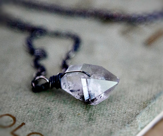 April Birthstone Coal Miner's Daughter Necklace Herkimer Diamond Quartz PoleStar