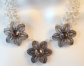 Antiqued Silver Flower Necklace - Wire Work - Chainmaille Statement Necklace - Floral Rhinestone Sliders - Brown - Tan - Wire Jewelry