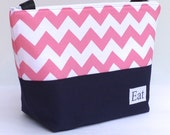 Insulated Lunch Bag Tote Eco Friendly Zip Pink Chevron Adult Lunch Bag by BonTons on Etsy