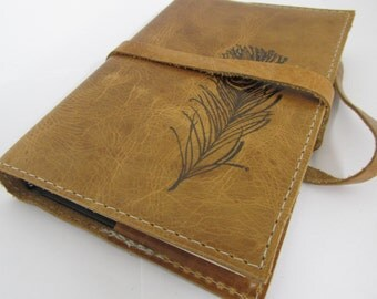 leather journal sketchbook hand-printed for you custom