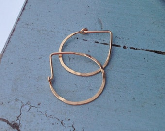 Gold Hammered Teardrop Hoops - Small H01GF-S Modern Hoops, Gold Filled, Minimalist - wire jewelry by cristysjewelry on etsy