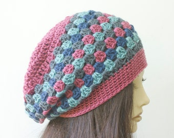 Granny Square Slouchy Beanie, Crocheted Hat, Striped Hat, Mauve, Blue, Gray Winter Hat