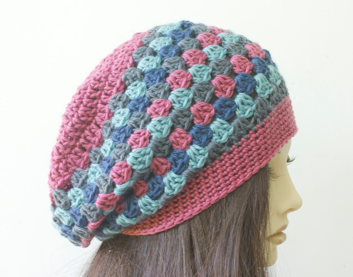 Crochet Granny Square Beanie Pattern : Granny Square Slouchy Beanie Crocheted Hat Striped Hat