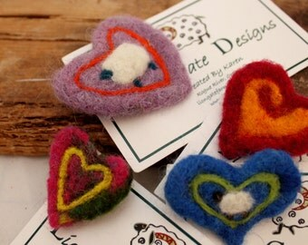 Heart, Needle Felted Heart Pin 4 choices