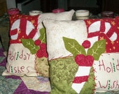 Set of 2 Candy Cane Patchwork Pillows Hand Embroidery