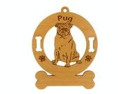 3758 Pug Sitting Personalized Dog Ornament