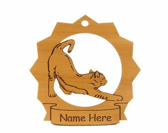 Cat Stretching Wood Ornament 087129 Personalized With Your Cat's Name