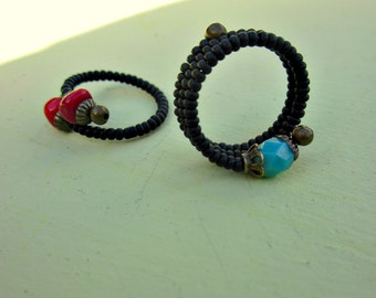 Beaded Black Matte Adjustable Stackable Memory Wire Rings with Red and Aqua Accents, Set of Two: Blue Valley