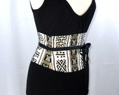 Any Size Black and Gold Tribal African Print Waist Cincher Corset Belt Any Size