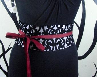 Silver and Black Flocked Velvet Taffeta Obi Belt Boned Corset Waist Cincher Sash Any Size