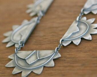Zelda Luxe Necklace, art deco inspired silver, adjustable