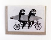 Tandem sloths card, bicycle, cycling sloth greeting card
