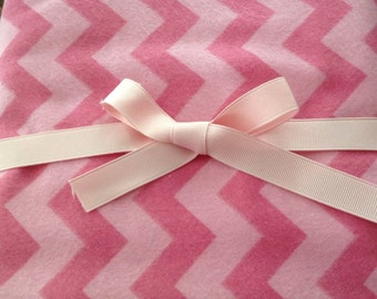 Pink on pink Chevron flannel swaddler