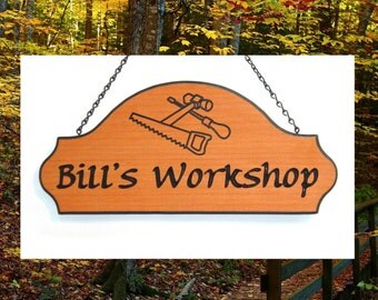 Custom Carved Redwood Sign - Woodcrafter -  Carved Tools Graphic - Great Father's Day Gift Idea