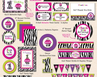 Zebra Cupcake First Birthday Party - DIY/Printable Complete Party Pack - INSTANT DOWNLOAD!