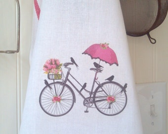 Bicycle Kitchen Tea Towel, French Bicycle Hand Towel