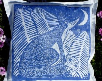 cushion cover, decorative pillow, throw cushion, scatter cushion, accent pillow, sofa cushion, fox, blue, white, moon, star, linocut, spring