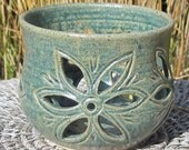 SALE Candle Holder with Flowers - Handmade Pottery