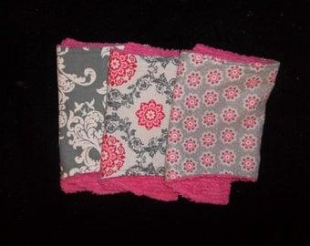 set of 3 coordinating pink and grey burp cloths
