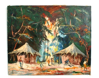 Vintage Original Tropical Island Landscape Painting Mid Century Modern