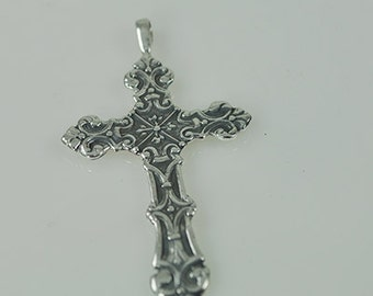 Sterling Silver Cross Pendant with Ornate Scroll Work