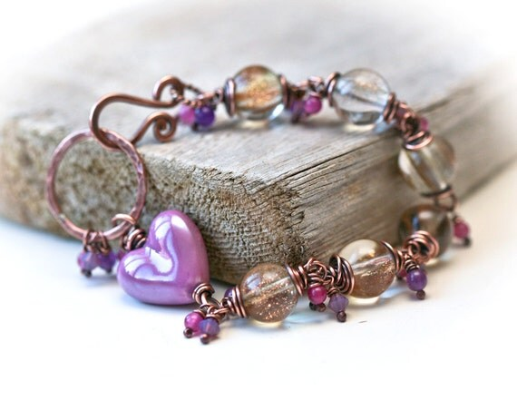Purple Heart and Clear Goldstone Beads Wire Wrapped Copper Bracelet