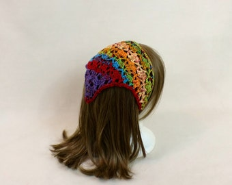 Triangle Head Scarf - Rainbow Hair Bandana - Kerchief Headband - Hair Cover Tie