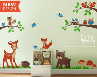 Forest Animals Wall Decal Woodland Animals Wall Decal Animals Friends Nursery Kids Baby Room Vinyl Wall Decal Art Set