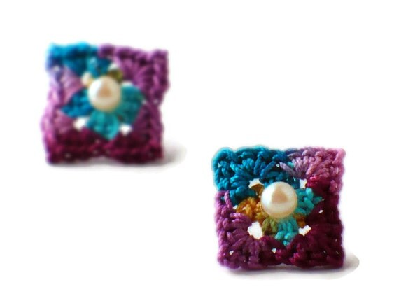 Crochet Earrings Granny Square Stud Earrings Hypoallergenic Dark Teal Berry Purple Orange Turquoise