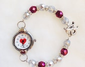 Red Heart Watch Bracelet with Beaded Band and Heart Toggle Clasp, Valentines Day