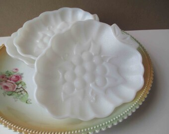 Milk Glass Strawberry Grape Vintage Dishes Set of Four - Cottage Chic