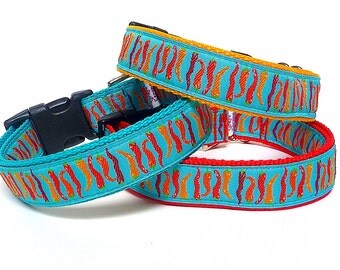 Chili pepper collar, dog collar, tag collar, CHILI PEPPERS, buckle collar, house collar, teal chili peppers, red chili peppers