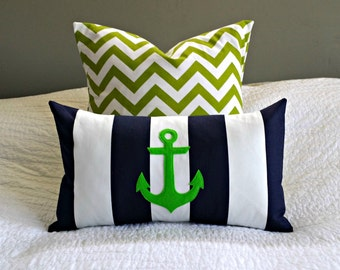 Modern Anchor Lumbar Pillow Cover - Navy and White Stripe - Lime Green Anchor